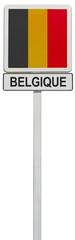 drapeau belge sur panneau de signalisation