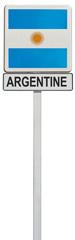 drapeau argentin sur panneau de signalisation