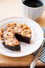 Close up image of walnut toffee cake
