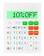 Calculator with 10%OFF on display on white background
