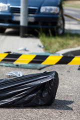Corpse in bag after car accident
