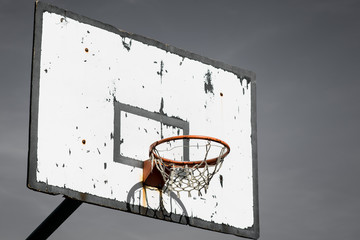Dramatic outdoor basketball basket