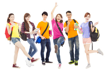 happy young students standing a row