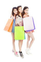 three happy asian shopping woman with bags