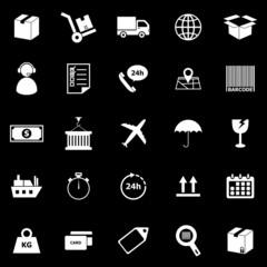 Logistics icons on black background