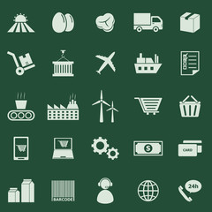 Supply chain color icons on green background