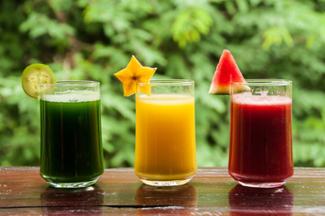 Colorful glasses of fruit juice