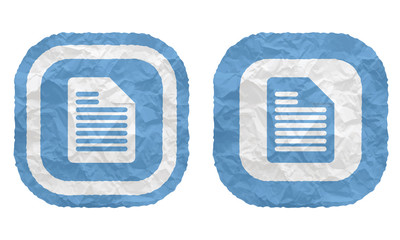 two frames with texture crumpled paper and document icon