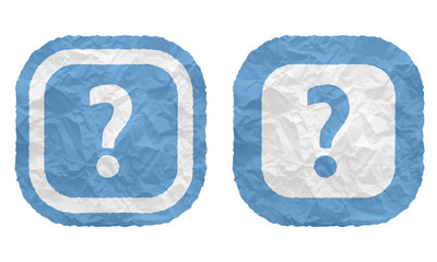 two frames with texture crumpled paper and question mark