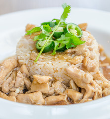 Chicken with brown sauce on rice