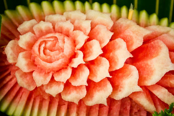 Flowers carved from a watermelon