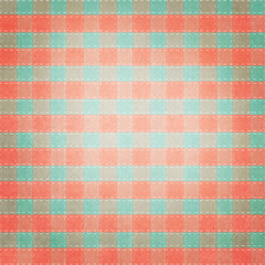 Retro brightly colored green, red and white plaid textile fabric