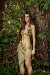 Savage girl in the woods.