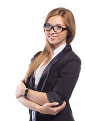 Young Beautiful Businesswoman With Arm Crossed