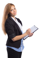 Portrait of smiling business woman with clipboard writing