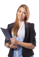 Portrait of smiling business woman with clipboard