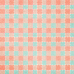 Retro brightly colored blue and pink plaid textile fabric backgr