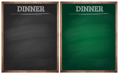 isolated dinner black and green blackboards or chalkboards