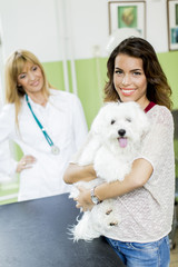 Young woman with a dog at veterinarian