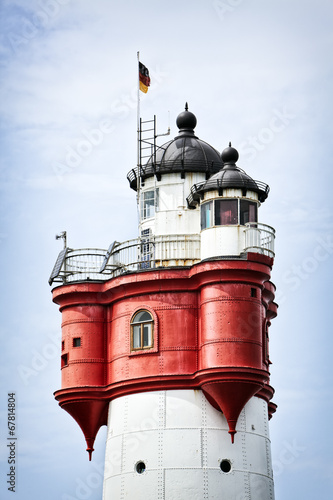 Leinwandbild Motiv Roter Sand Leuchtturm Detail