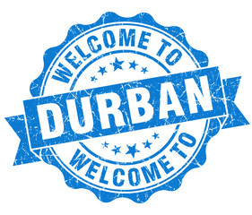 welcome to Durban blue vintage isolated seal