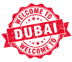 welcome to Dubai red vintage isolated seal