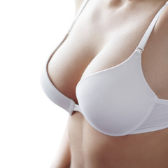 White bra on woman body