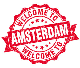 welcome to Amsterdam red vintage isolated seal