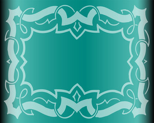 Floral Background in Vintage Style. Vector With Blue Gradients