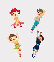 Cute Cartoon Boys and Girls. Vector Clip Art
