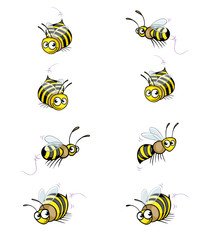 Collection of Funny Cartoon Cute Bee