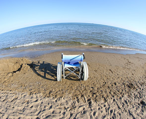 wheelchair to move around on the beach and the sea