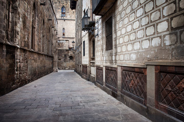 Alley in the Gothic Quarter of Barcelona
