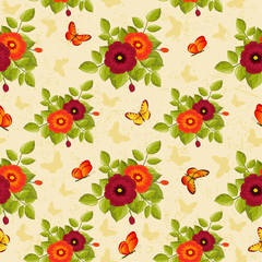 retro flower pattern with butterflies