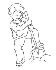 Gardening Hobby Kids Boy Outline Vector Illustration