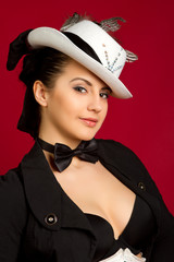 brunette girl in a white hat