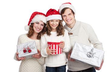 Glückliche Familie an Weihnachten