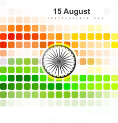15th of August beautiful indian flag mosaic colorful background