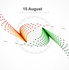 15th of August  Indian Independence Day stylish wave halftone co