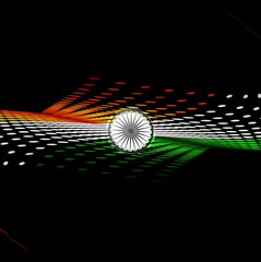 Indian Independence Day 15th of August halftone colorful flag wa