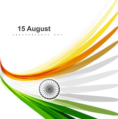 Indian flag colorul stylish design for Indian independence day v