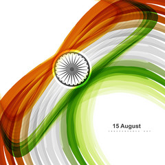 Indian flag stylish wave tricolor creative colorful vector