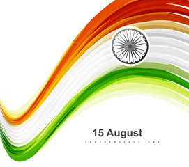 Beautiful stylish 15th of August  indian flag wave colorful vect