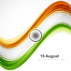 Beautiful stylish indian flag wave colorful vector