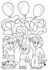 Maze 8 coloring book with children