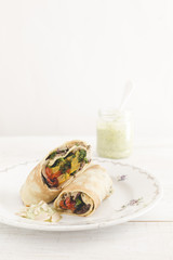 Crepes with herbs and grilled vegetables