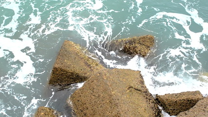 Waves on the breakwater