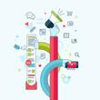 Flat line design concept for internet marketing