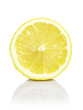 Sliced half of limon isolated on white background.