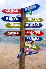 World financial capitals directions signs post over blue sky